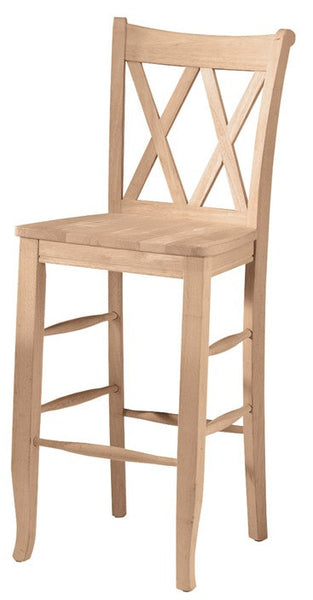 Double X-Back Hardwood Barstool - UnfinishedFurnitureExpo