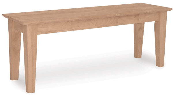 "Hardwood Shaker Bench - 47"" - UnfinishedFurnitureExpo"