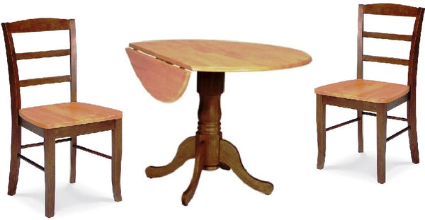 Espresso & Cinnamon 3-Pc. Round Drop Leaf Dining Set with Madrid Chairs - UnfinishedFurnitureExpo