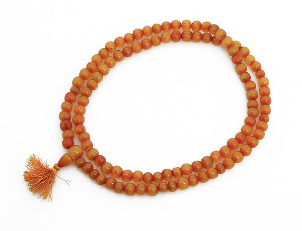 Amber Buddhist Mala Beads Top View