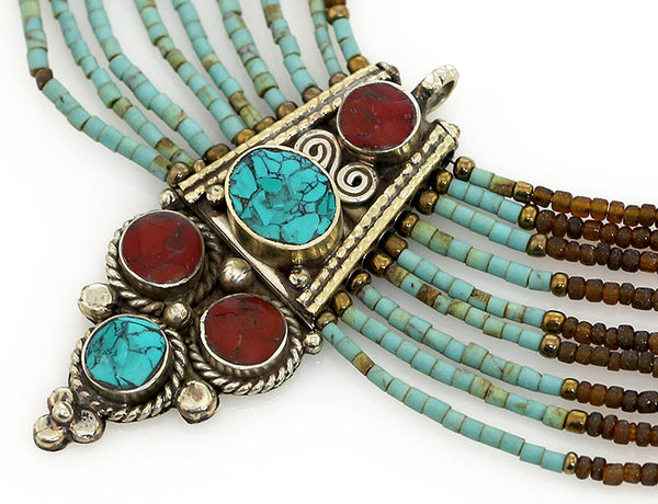 Beaded Tibetan Necklace Antiqued Pendant Close Up