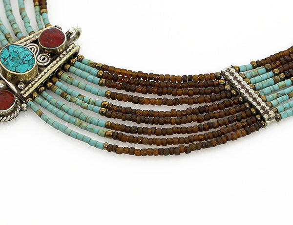 Beaded Tibetan Necklace Turquoise and Quartz Close Up