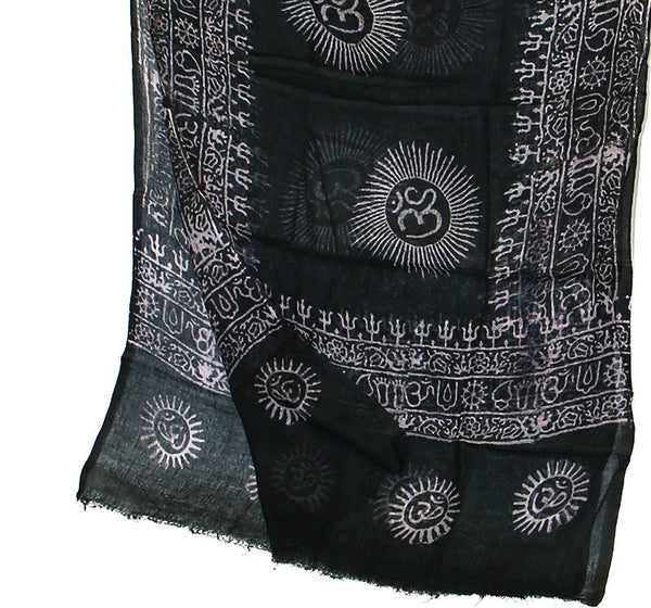 Black Cotton Yoga Scarf