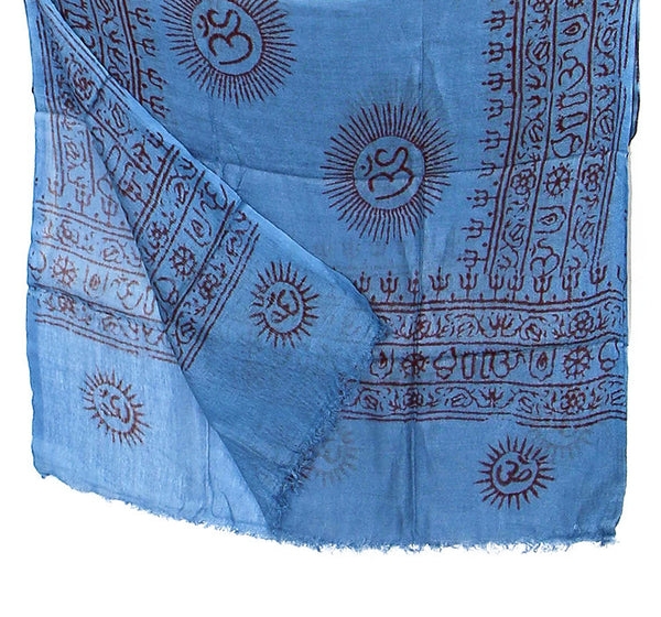 Blue Cotton Yoga Scarf