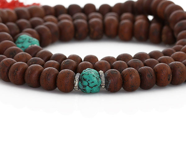 Bodhi Seed Buddhist Mala Beads with Turquoise Close Up