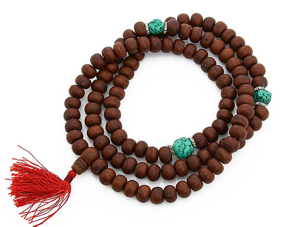Bodhi Seed Buddhist Mala Beads with Turquoise Top view