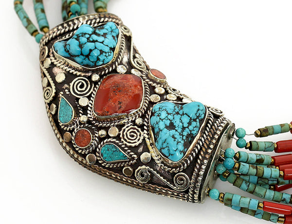 Bohemian Tibetan Necklace Large Antiqued Silver Pendant Close Up