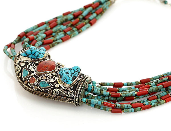 Bohemian Tibetan Necklace Side View