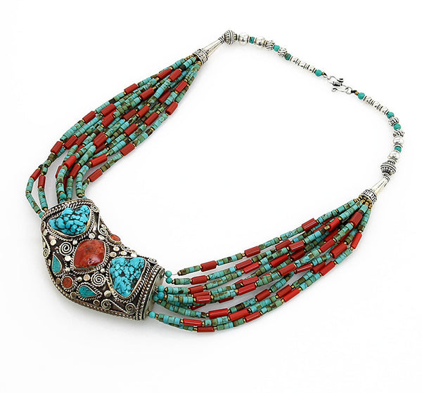 Bohemian Tibetan Necklace with Huge Silver Pendant