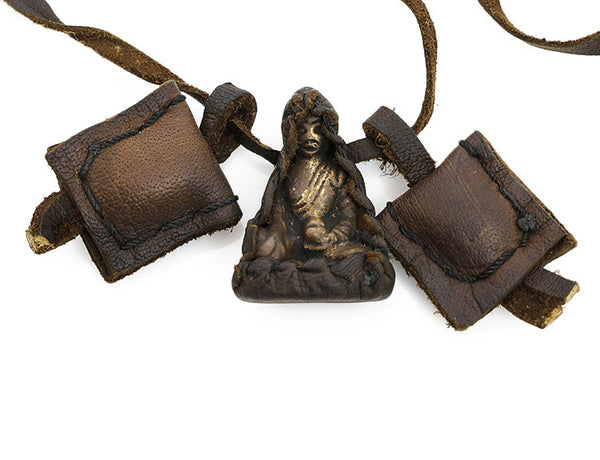 Buddha Necklace with Leather Buddha Wrapped Statue Close Up