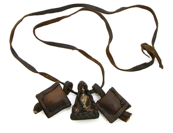 Buddha Necklace with Leather Herb Satchels