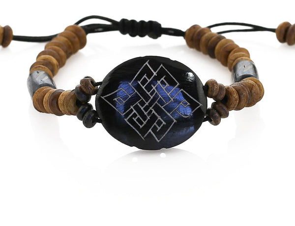 Buddhist Bracelet Engraved Endless Knot Symbol Close Up