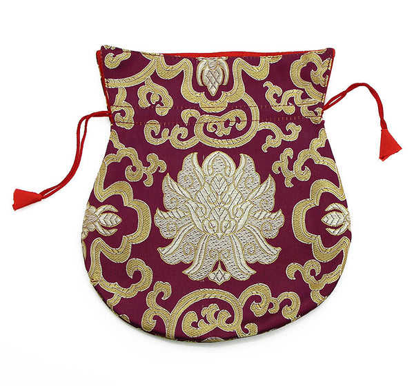 Mala Bag  Burgundy Brocade Silk with Gold Lotus Design