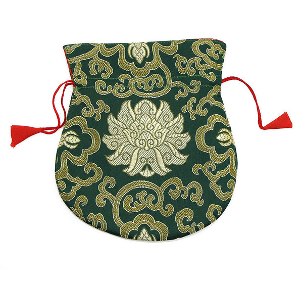 Mala Bag  Dark Green Brocade Silk with Gold Lotus Design