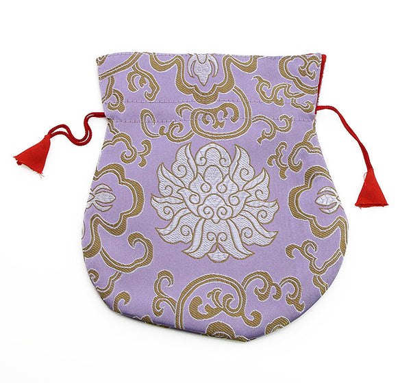 Mala Bag Pink Brocade Silk with Gold Lotus Design