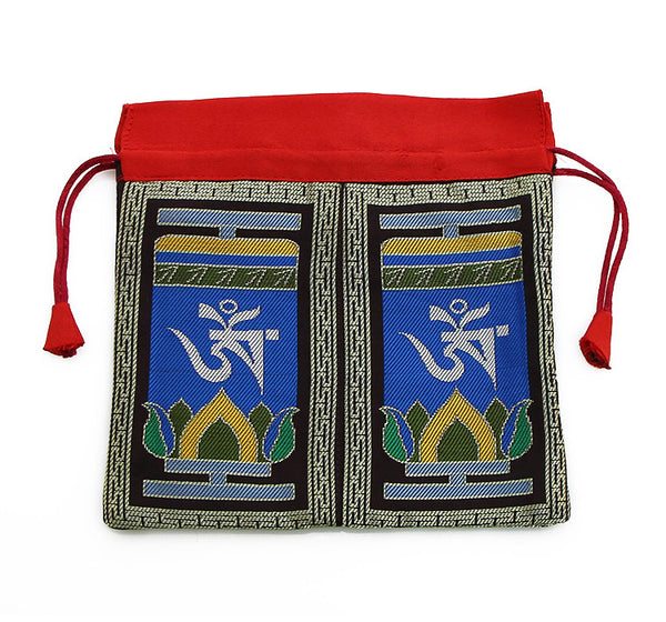 Mala Bag  Black and Blue Brocade Silk with Tibetan Om Symbol