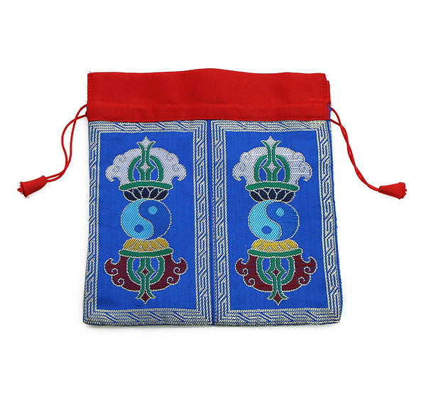 Mala Bag Tibetan Dorje Symbol on Blue Brocade Silk