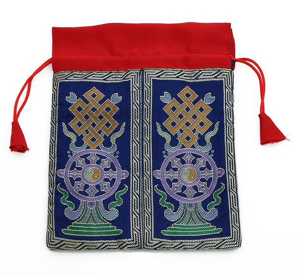 Mala Bag Blue Brocade Silk with Dharma Wheel Symbol
