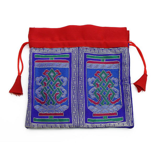 Mala Bag Blue Brocade Silk with Endless Knot Symbol