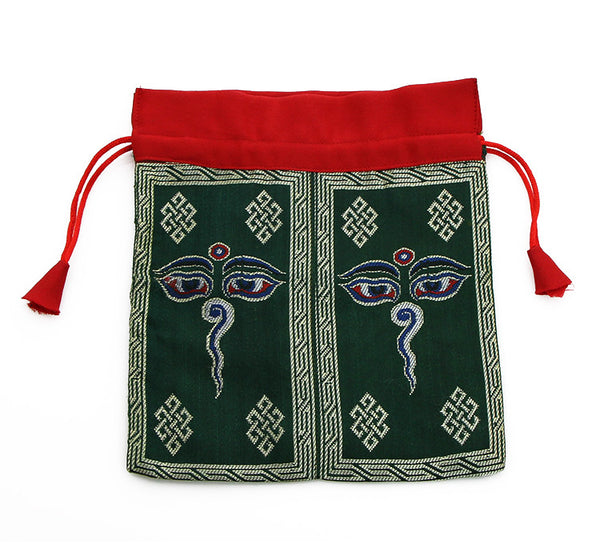 Mala Bag Eyes of Wisdom Symbol on Dark Green Brocade Silk