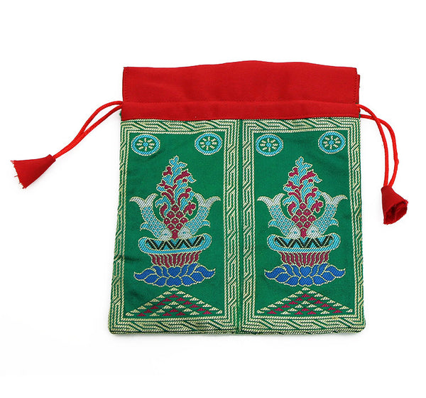 Mala Bag Green Brocade Silk with Auspicious Fish Symbol