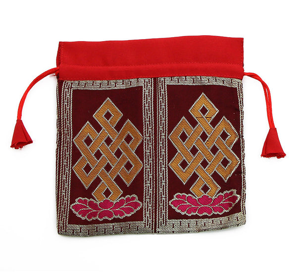 Mala Bag Maroon Brocade Silk with Endless Knot Symbol