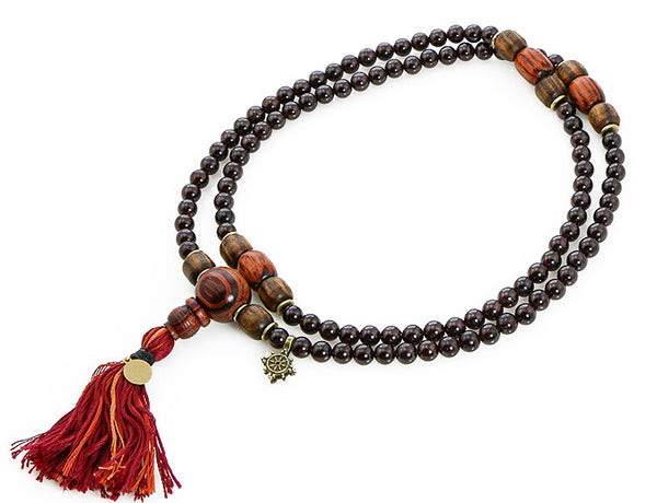 Buddhist Mala Bead with Garnet and Rengas Tiger Wood Top View