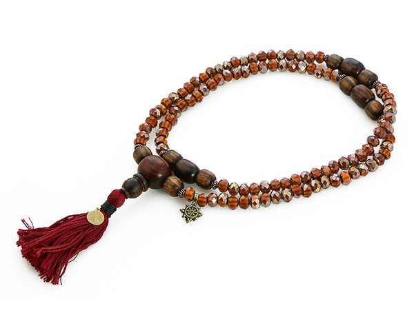 Buddhist Mala Beads Amber Italian Glass and Cocobolo Wood Top View