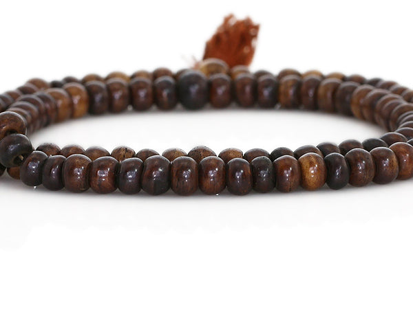 Buddhist Mala Beads Dark Brown Yak Bone Close Up