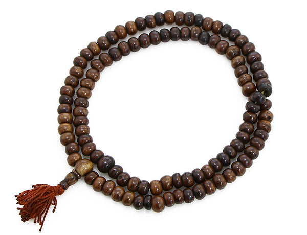 Buddhist Mala Beads Dark Brown Yak Bone Top View