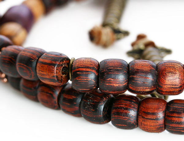 Buddhist Mala Beads Purpleheart and Rengas Tiger Wood Close Up