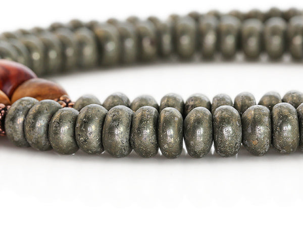 Buddhist Mala Beads Pyrite and Tulipwood Close Up