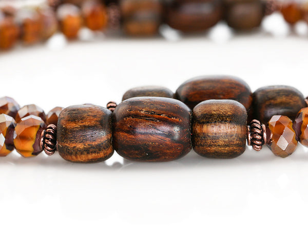 Buddhist Mala Beads with-Amber Italian Glass and Cocobolo Wood Marker Beads
