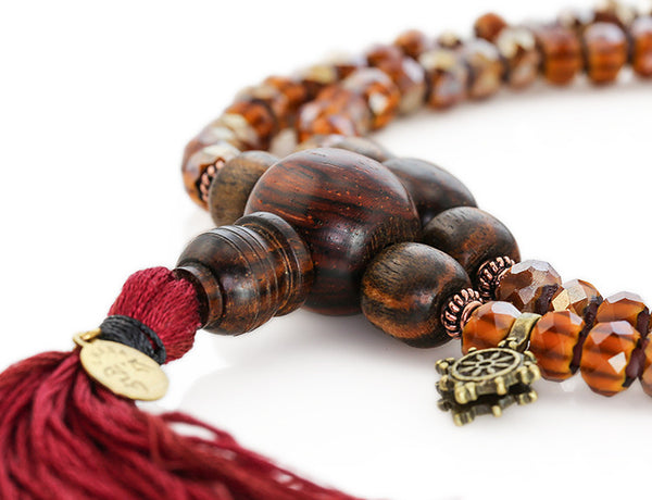 Buddhist Mala Beads with Amber Italian Glass and Cocobolo Wood