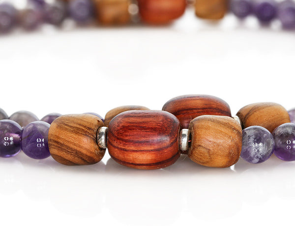 Buddhist Mala Beads with Amethyst and Tulipwood Marker Beads