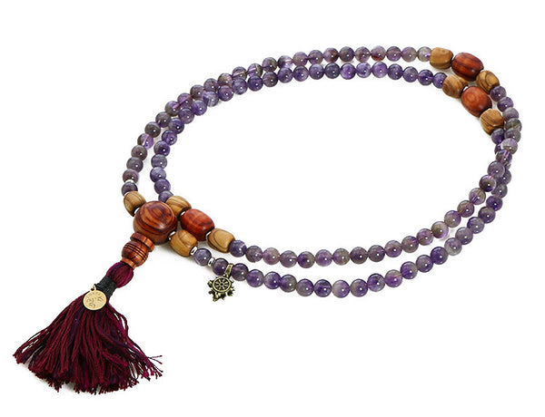 Buddhist Mala Beads with Amethyst and Tulipwood Top View