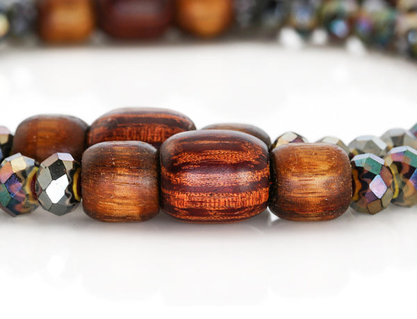 Buddhist Mala Beads with Black Italian Glass and Rengas Tiger Wood Marker Beads