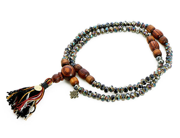 Buddhist Mala Beads with Black Italian Glass and Rengas Tiger Wood Top View