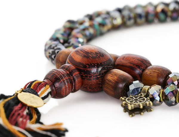 Buddhist Mala Beads with Black Italian Glass and Rengas Tiger Wood