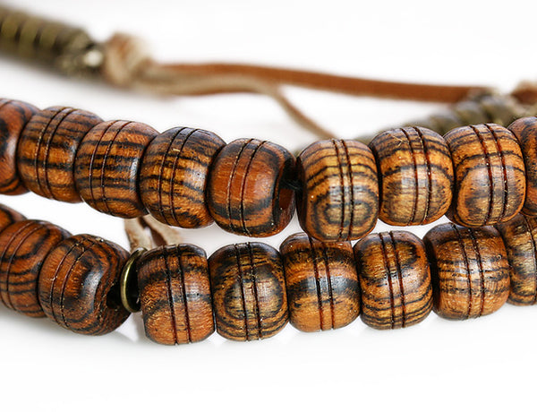 Buddhist Mala Beads with Bocote Wood Main Beads Close Up