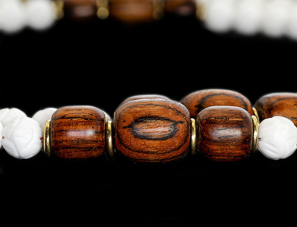 Buddhist Mala Beads with Carved Shell and Bocote Wood Marker Beads