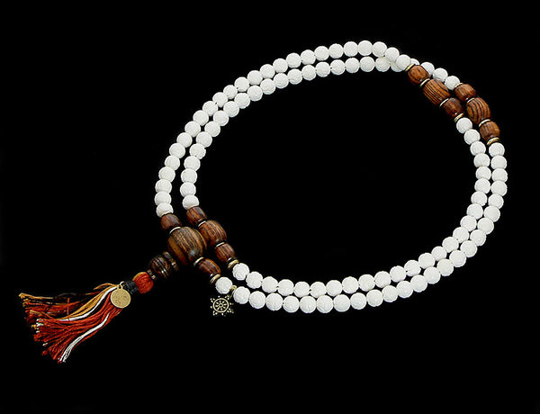 Buddhist Mala Beads with Carved Shell and Bocote Wood Top View