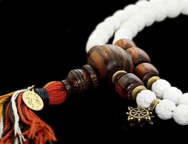 Buddhist Mala Beads with Carved Shell and Bocote Wood