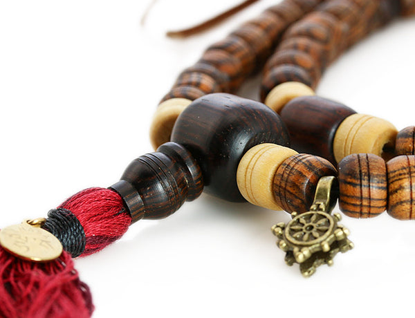 Buddhist Mala Beads with Cocobolo Bocote and Maple Wood