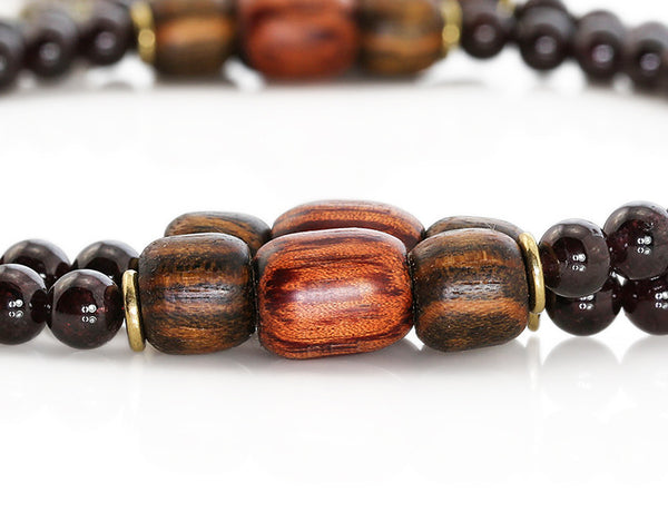 Buddhist Mala Beads with Garnet and Rengas Tiger Wood Marker Beads
