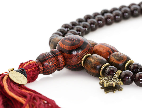 Buddhist Mala Beads with Garnet and Rengas Tiger Wood