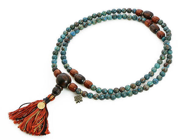 Buddhist Mala Beads with Ocean Agate and Ebony Wood Top View