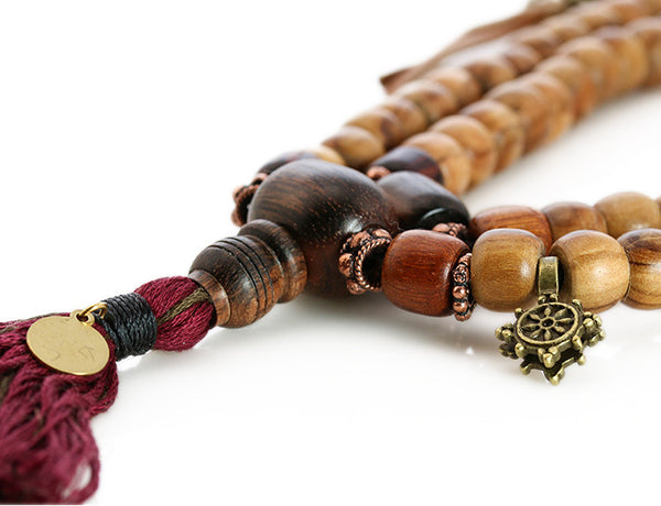 Buddhist Mala Beads with Olivewood and Macassar Ebony Guru Bead