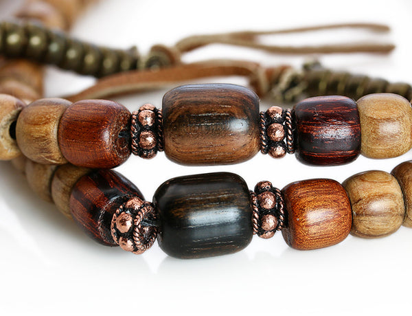 Buddhist Mala Beads with Olivewood and Macassar Ebony Marker Beads