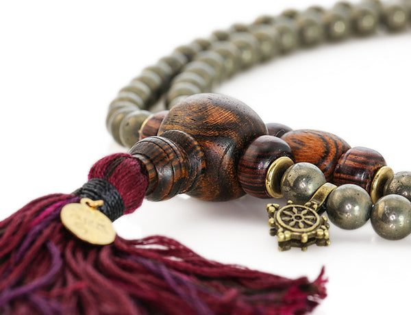 Buddhist Mala Beads with Pyrite Bocote Wood and Kingwood